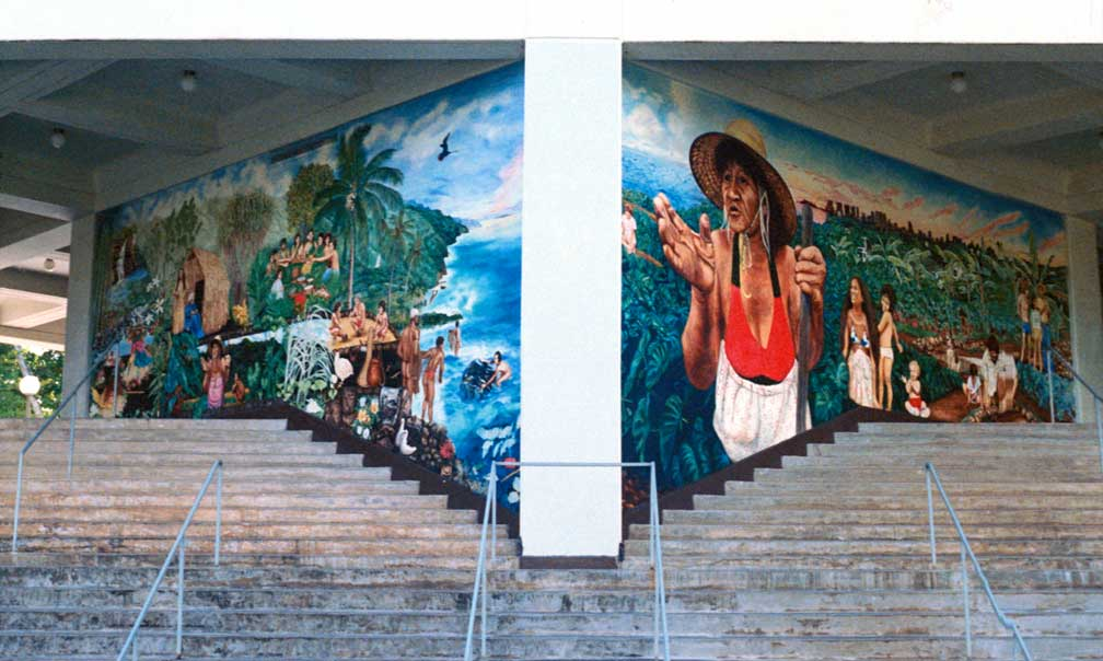 Hawai'i Ka'u Kumu (Hawai'i is my teacher) A Mural on the Spirit of Growth and Learning Then and Now, 1982 The University of Hawai'i's 75th Anniversary Murals, The Campus Center, University of Hawai'i at Manoa, Honolulu, Hawai'i   (16' X 27' each) Politec acrylic glaze painting on exterior concrete walls.