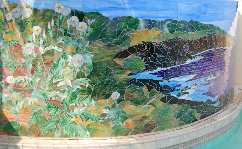 2007 Puakala at Puakea Bay, by Calley O'Neill, stained glass mosaic 5' by 22', Puakea Bay Ranch, Hawaii, detail