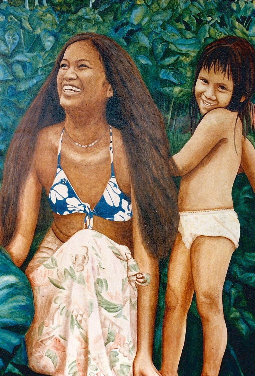Calley's dear friend and neighbor, Louise Kaiulani Sausen and her daughter Lehua posed for the auana (modern) side of the mural.  It was Kaiulani that introduced Calley to her kumu, Braddah Frank Hewett.