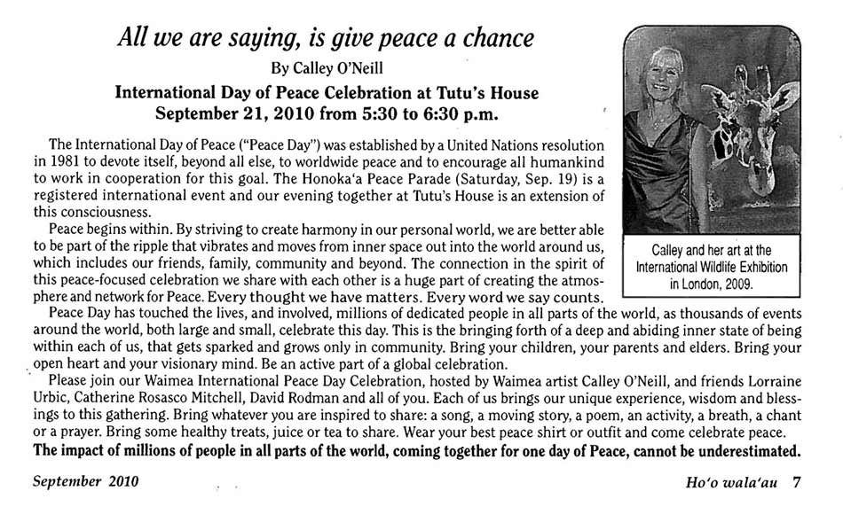 International Day of Peace Celebration of Tutu's House